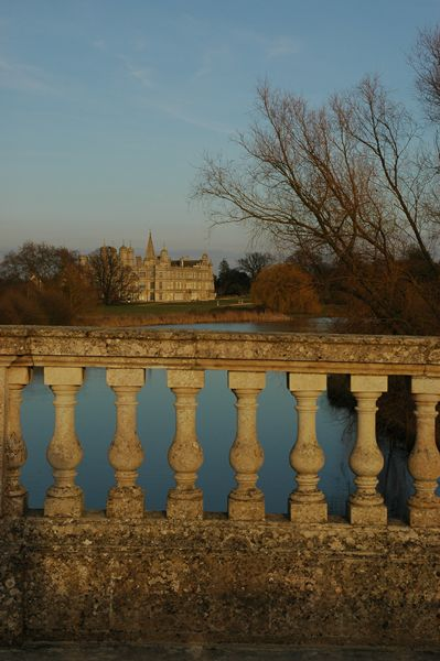 Burghley House with the bridge railing
