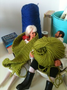 Francoise modeling my crocheting...it is a bit chilly this morning.