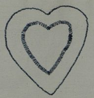 Button hole stitches over pencil drawn heart!