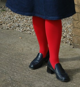 red stockings facing left