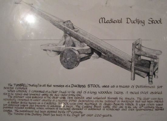 the placard for the dunking stool